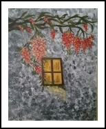 yellow window in grey and orange, Paintings, Fine Art, Landscape, Acrylic, By zakia siddiqui