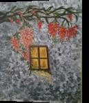 yellow window in grey and orange, Paintings, Fine Art, Landscape, Acrylic, By zakia siddiqui