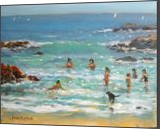 Young Bathers, and dog., Paintings, Realism, Children, Acrylic, By John William Richie