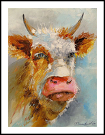 Young bull, Paintings, Impressionism, Animals, Canvas,Oil,Painting, By Olha   Vyacheslavovna Darchuk