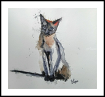 Zeus The Cat, Paintings, Fine Art, Animals, Watercolor, By james Allen lagasse