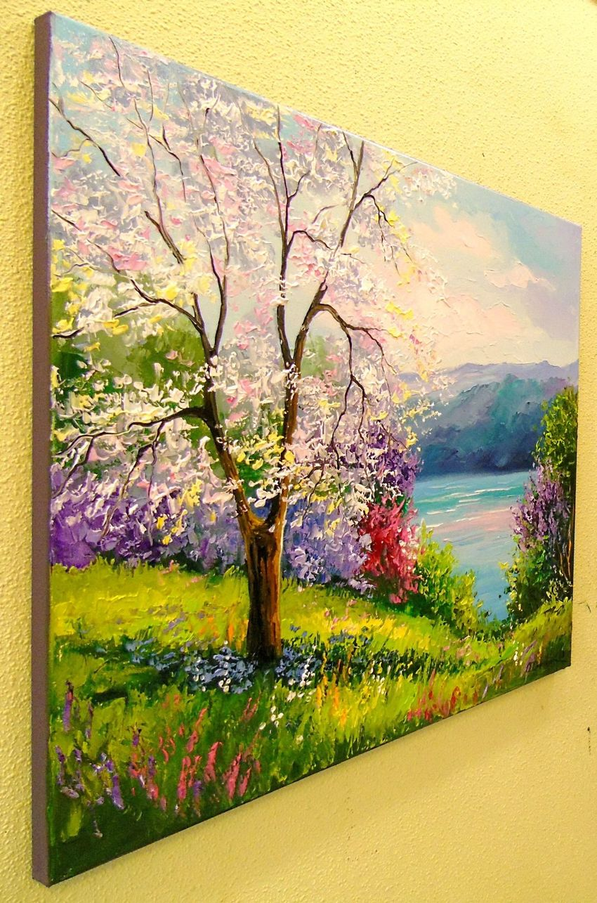 Blooming Apple tree on the river Bank Paintings by Olha Darchuk ...