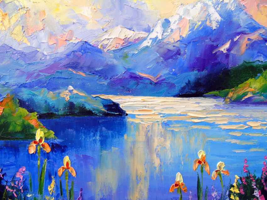 Flowers On The Shore Of A Mountain Lake Paintings By Olha Darchuk Artist Com