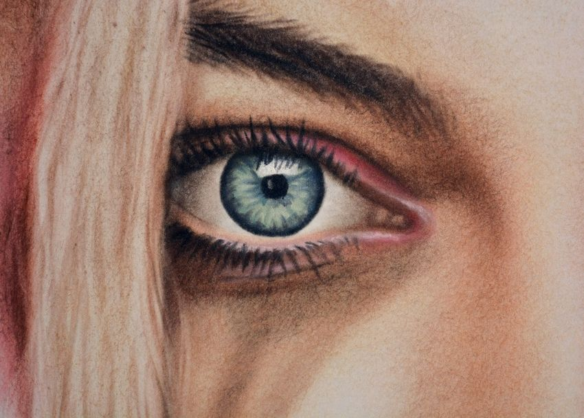 Harley Quinn portrait painting eye