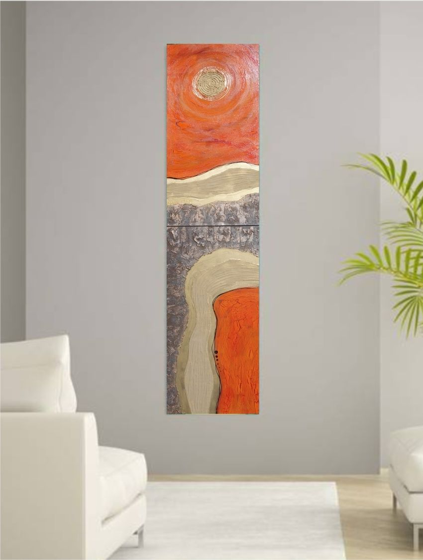Hot orange gold rusty iron A113 Abstract Painting vertical ...