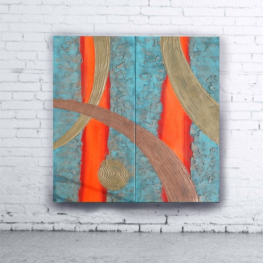 ... copper patina A109 Abstract Painting vertical wall art Acrylic Original Contemporary Art for. 1 ...  sc 1 st  Artist.com & Hot orange stripe copper patina A109 Abstract Painting vertical wall ...