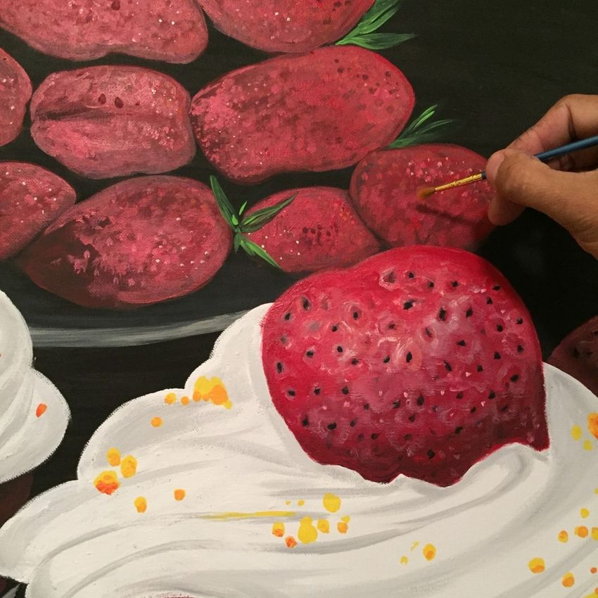 "Painting ""Strawberry Dream""."