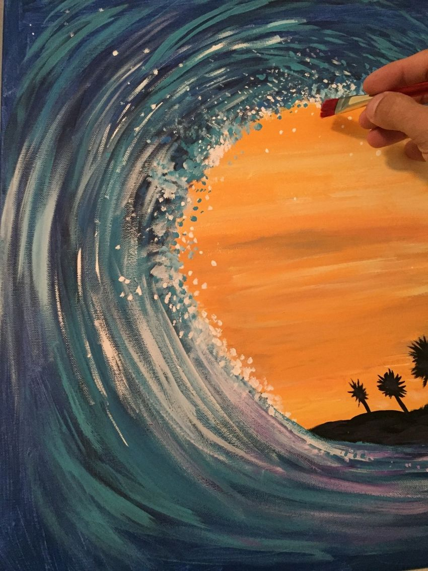 "Painting ""Tidal Wave""."