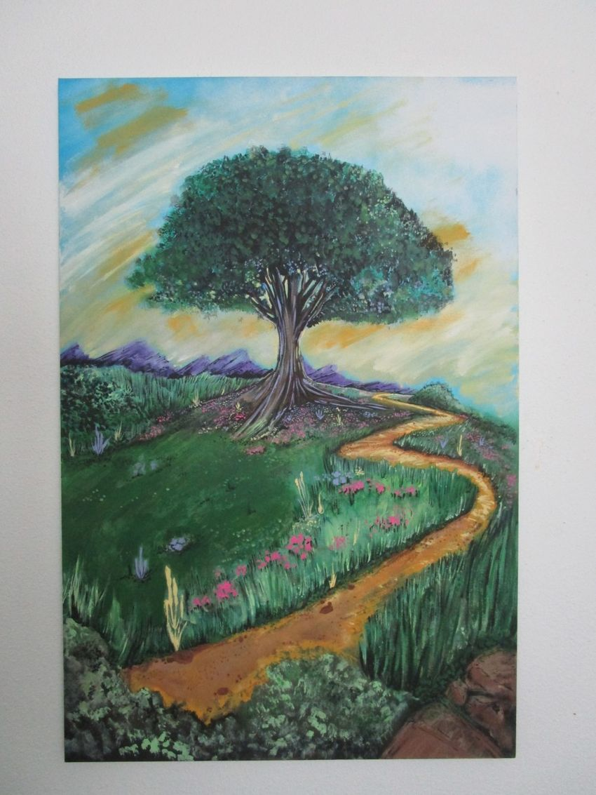 Tree of Imagination painting hanging on the wall.