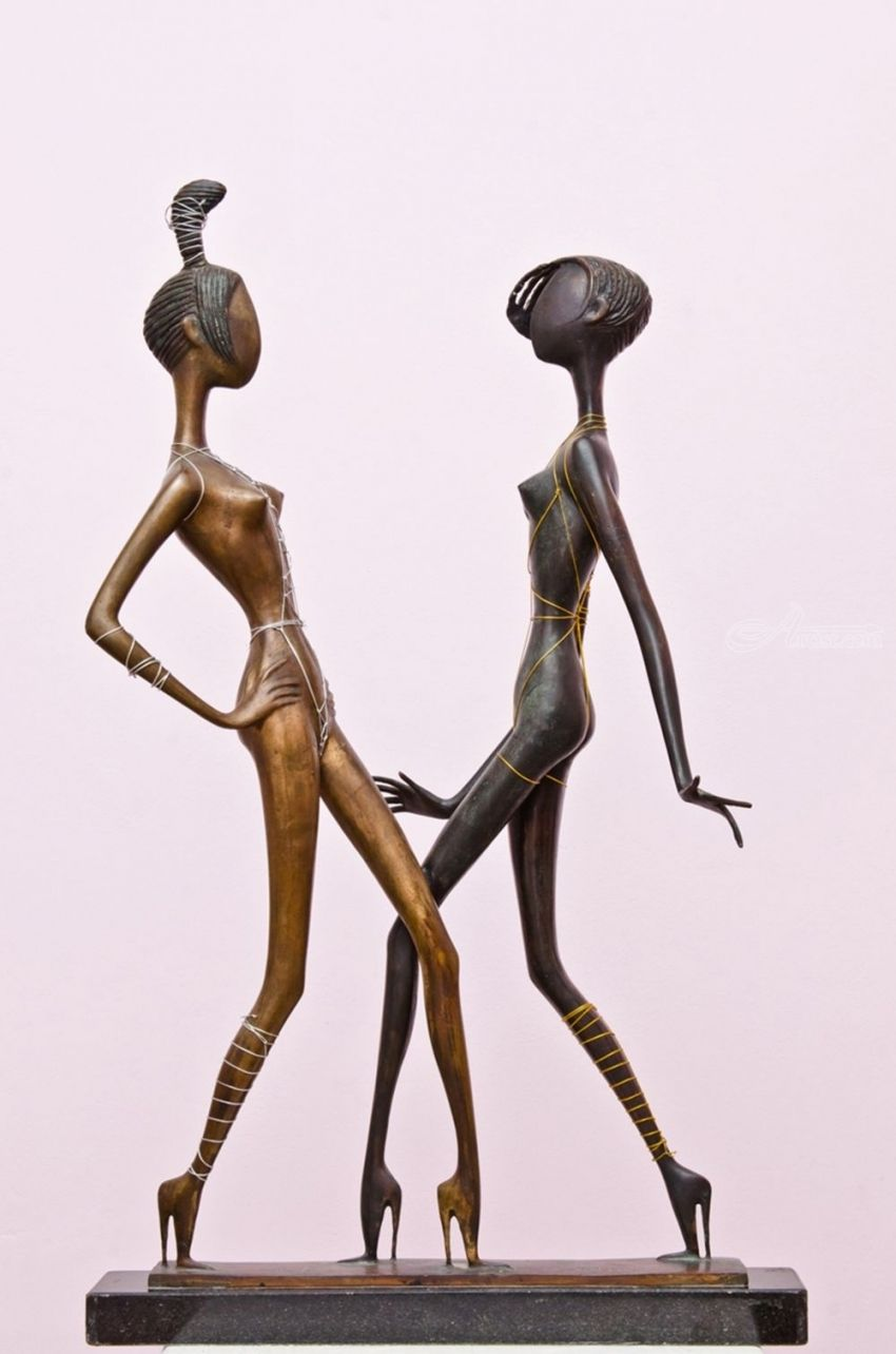 .BLACK AND WHITE BEAUTIES, Sculpture, Abstract, Figurative, Bronze, By ZAKIR AHMEDOV