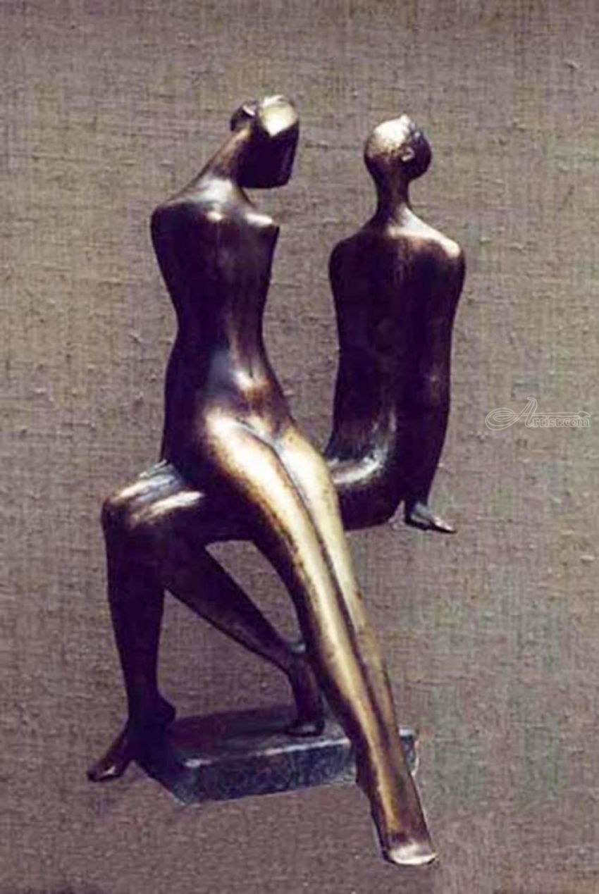 .I am and SHE, Sculpture, Abstract, Figurative, Bronze, By ZAKIR AHMEDOV