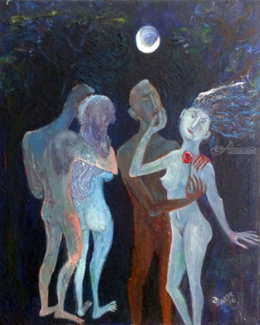.Moonlight Night, Paintings, Abstract, Erotic, Canvas, By ZAKIR AHMEDOV