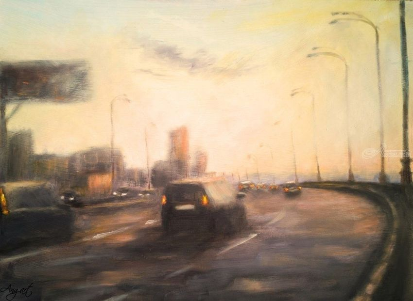 On the way to the city, Paintings, Impressionism, Cityscape, Oil, Wood, By Angela Suto