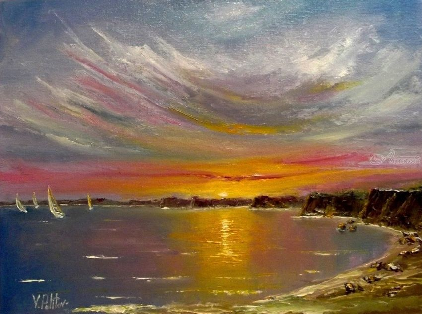 """Sunset chords""., Paintings, Impressionism, Seascape, Canvas,Oil, By Valeriy Politov"
