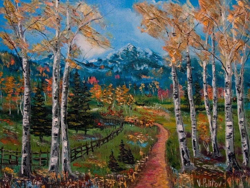 The Path in the Woods, Paintings, Impressionism, Landscape, Canvas, By Valeriy Politov