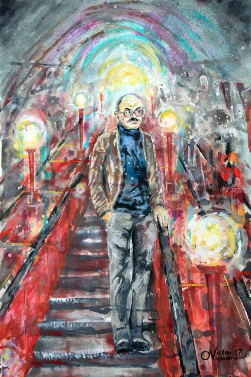 """To me in my subway ..., Paintings, Expressionism, Portrait, Acrylic, By Victor Ovsyannikov"