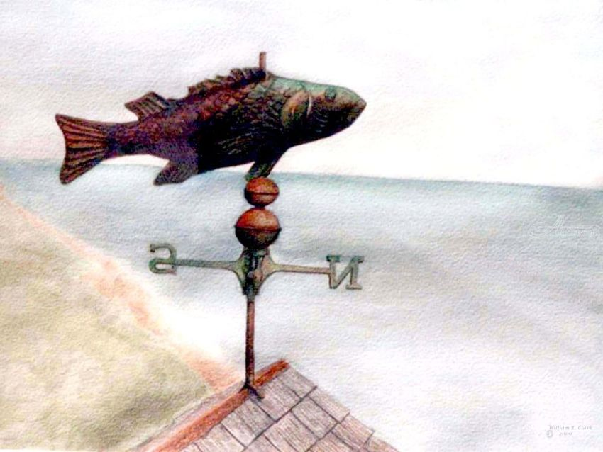 """Weathervane"", Paintings, Realism, Seascape, Watercolor, By William Clark"