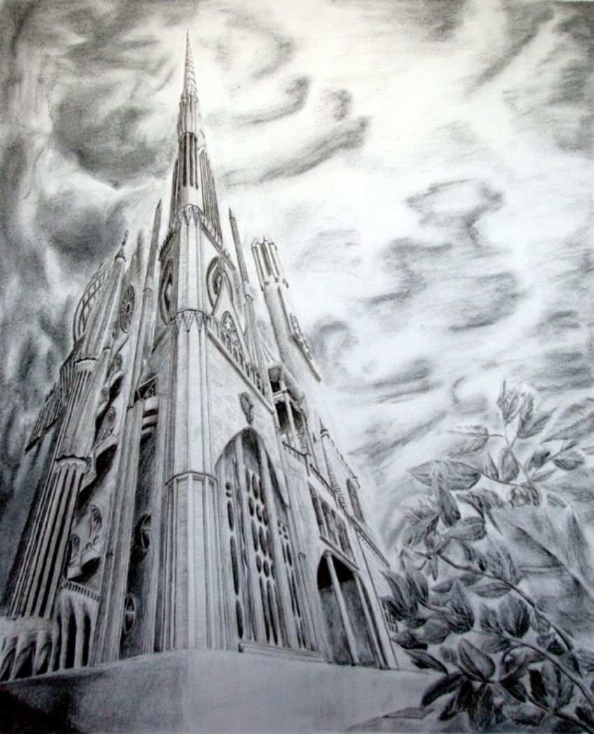 Skyward Edifice, Drawings / Sketch, Abstract, Cityscape, Charcoal, By Ambereen Ahmed