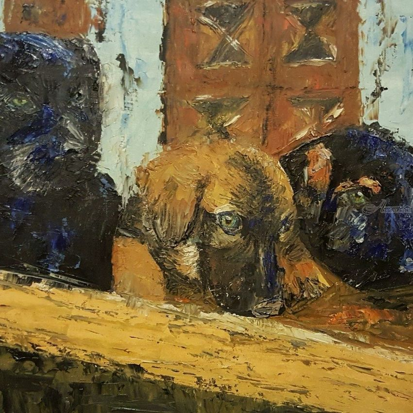 3 perritos, Paintings, Impressionism, Animals, Canvas, By Diego Ariel Catello