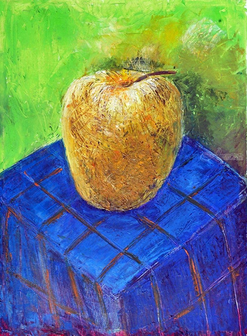 APPLE, Paintings, Modernism, Floral, Canvas, By ZAKIR AHMEDOV