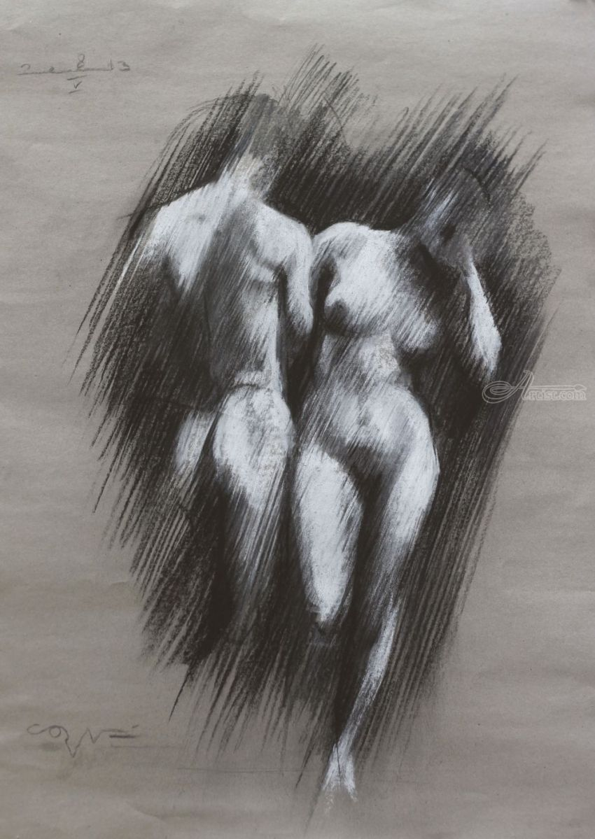 Adam & Eve - 08-05-13, Pastel, Fine Art,Impressionism,Realism,Romanticism, Anatomy,Nudes,People,Religious, Pastel, By Corne Akkers
