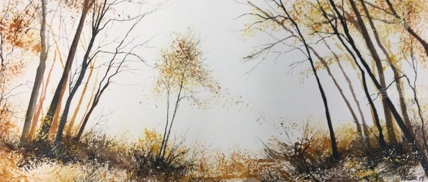 Autumn Light, Paintings, Impressionism, Landscape, Watercolor, By Stephen Keller
