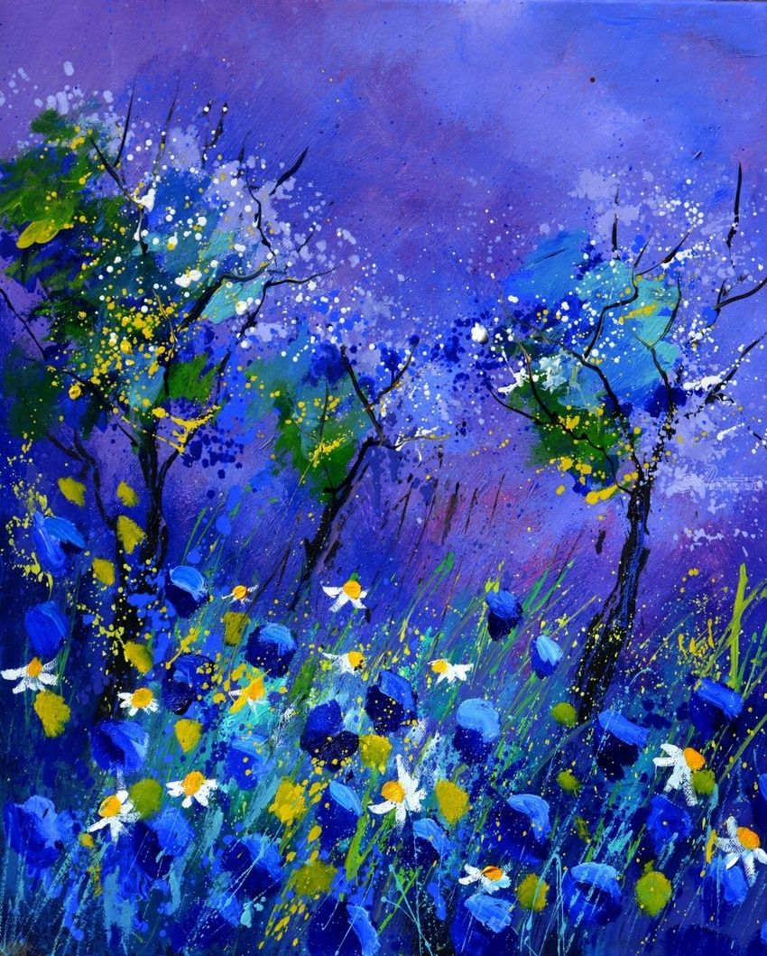 Blue flowers, Paintings, Expressionism, Botanical, Canvas, By Pol Henry Ledent