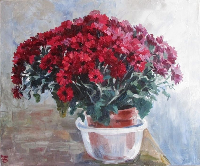 Chrysanthemums, Paintings, Fine Art, Impressionism, Realism, Floral, Still Life, Canvas, Oil, By Kateryna Bortsova