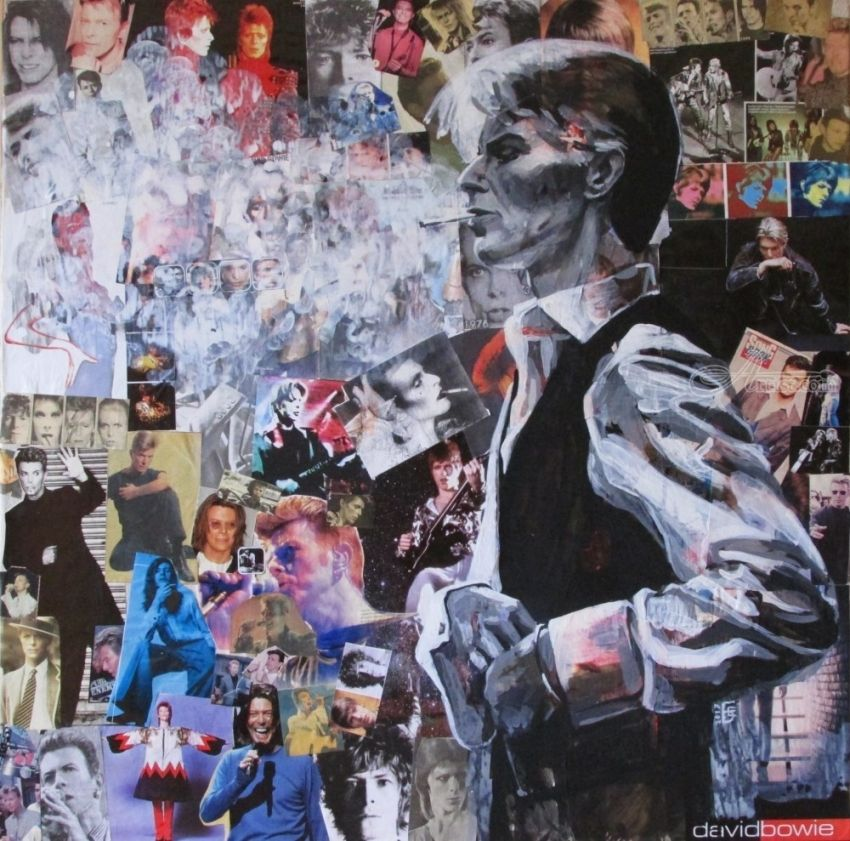 David Bowie, Collage, Paintings, Fine Art, Pop Art, Figurative, Found Objects, Music, People, Portrait, Acrylic, Canvas, By Kateryna Bortsova