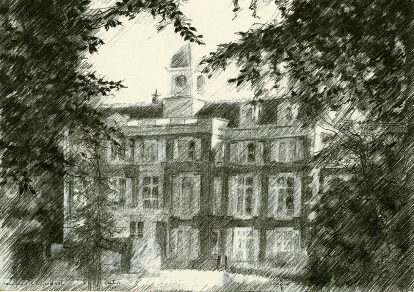 Estate Clingendael - 05-08-14, Drawings / Sketch, Fine Art, Impressionism, Realism, Architecture, Composition, Figurative, Landscape, Nature, Pencil, By Corne Akkers
