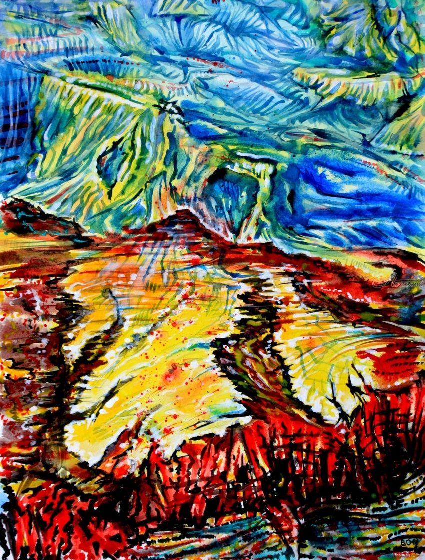 Grand canyon - 2, Paintings, Expressionism, Landscape, Acrylic, By Victor Ovsyannikov
