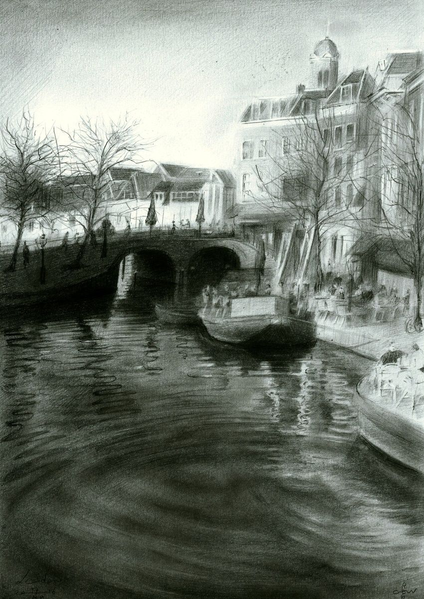Leiden - 27-12-16 (sold), Drawings / Sketch, Fine Art, Impressionism, Realism, Architecture, Cityscape, Composition, Figurative, Landscape, Pencil, By Corne Akkers