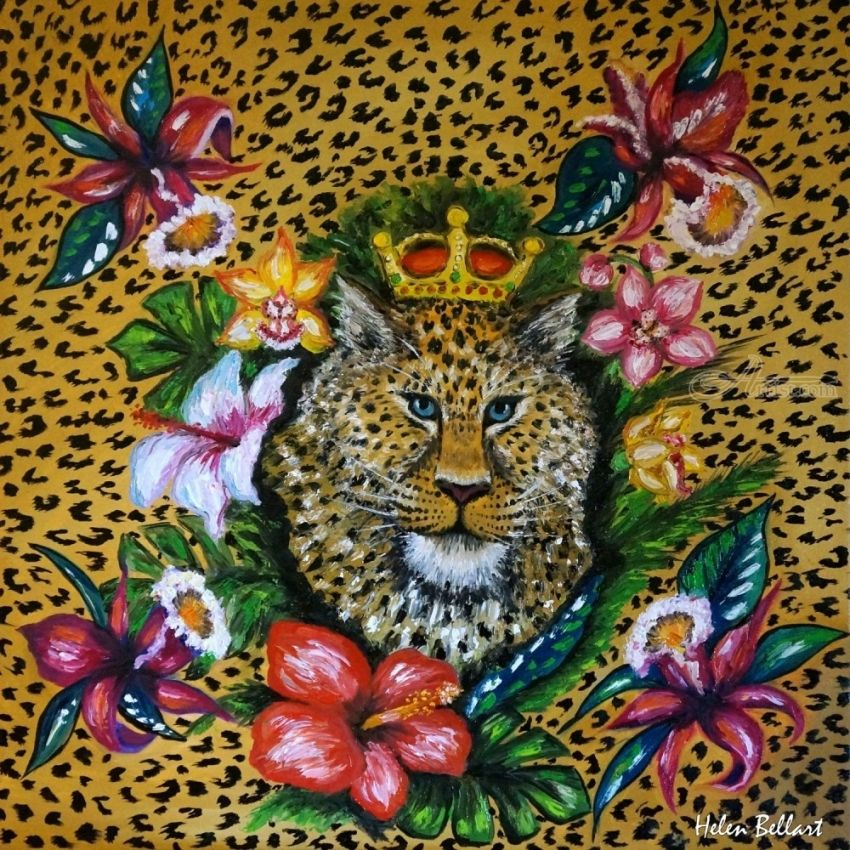Leopard Paintings Expressionism AnimalsBotanicalFloral CanvasOil
