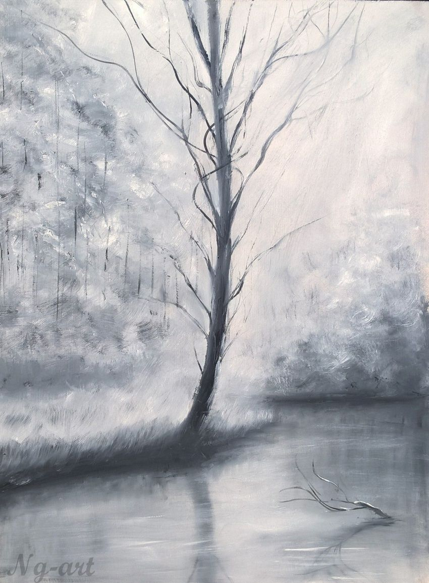 Lights in black and white paintings fine art impressionism landscape nature