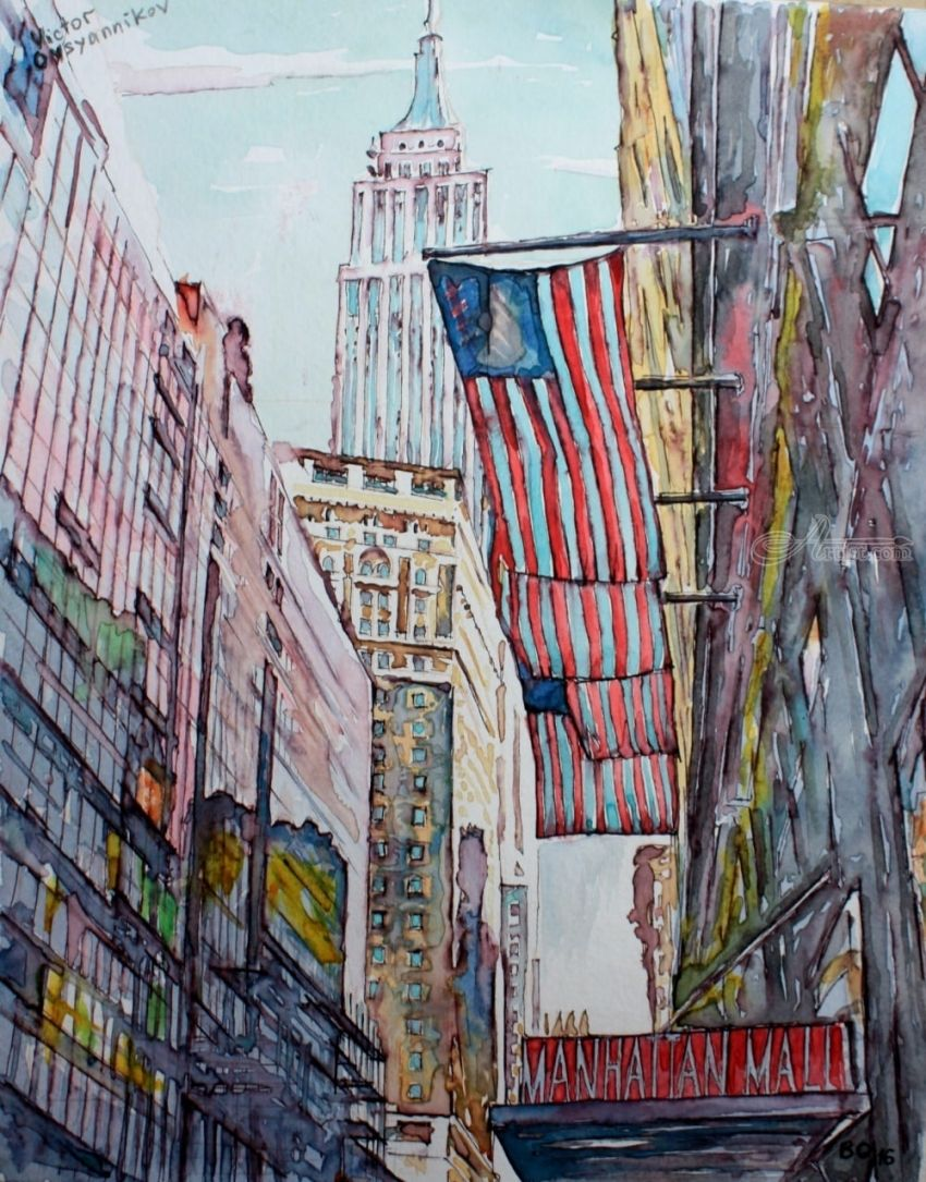Manhattan, Paintings, Surrealism, Architecture, Landscape, Watercolor, By Victor Ovsyannikov