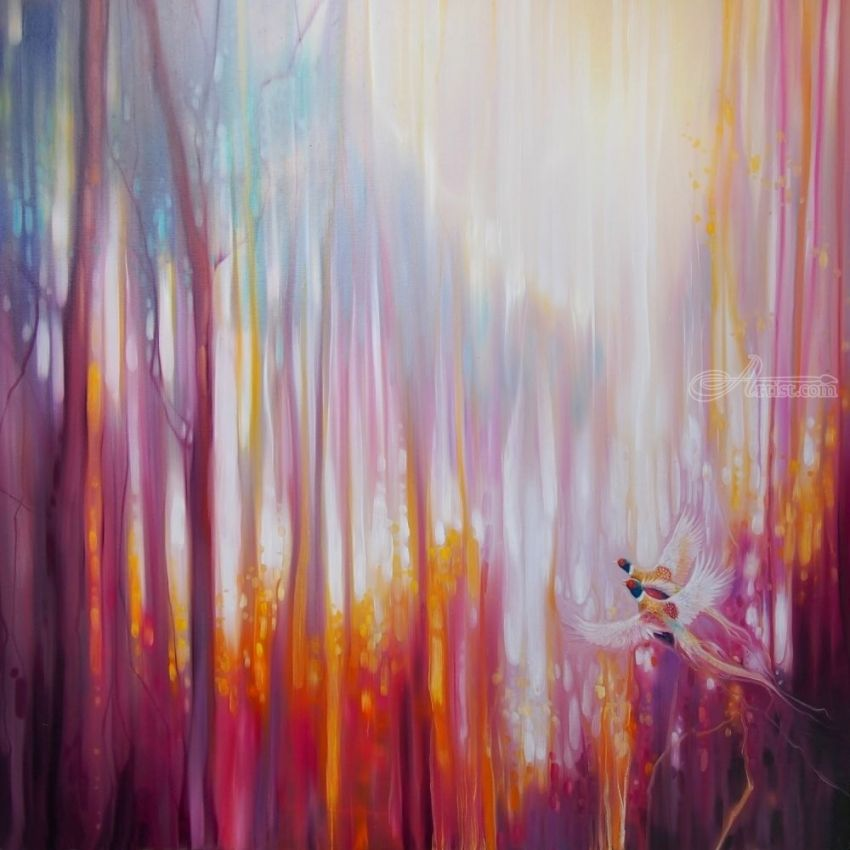 Nebulous Forest - a semi abstract landscape, Paintings, Abstract, Expressionism, Fine Art, Nature, Oil, By Gill Bustamante