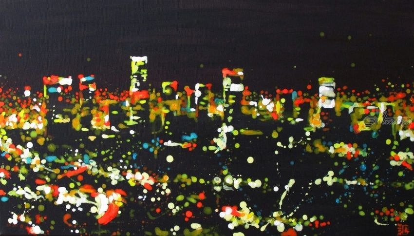 Night at L.A., Paintings, Expressionism, Fine Art, Impressionism, Architecture, Landscape, Acrylic, Canvas, By Kateryna Bortsova