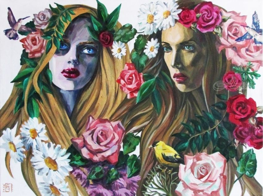 Nymphs, Paintings, Fine Art, Photorealism, Realism, Romanticism, Botanical, Figurative, Floral, People, Portrait, Canvas, Oil, Painting, By Kateryna Bortsova