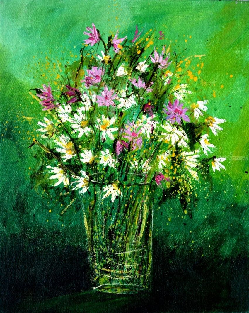 Pink wild flowers, Paintings, Expressionism, Decorative, Canvas, By Pol Henry Ledent