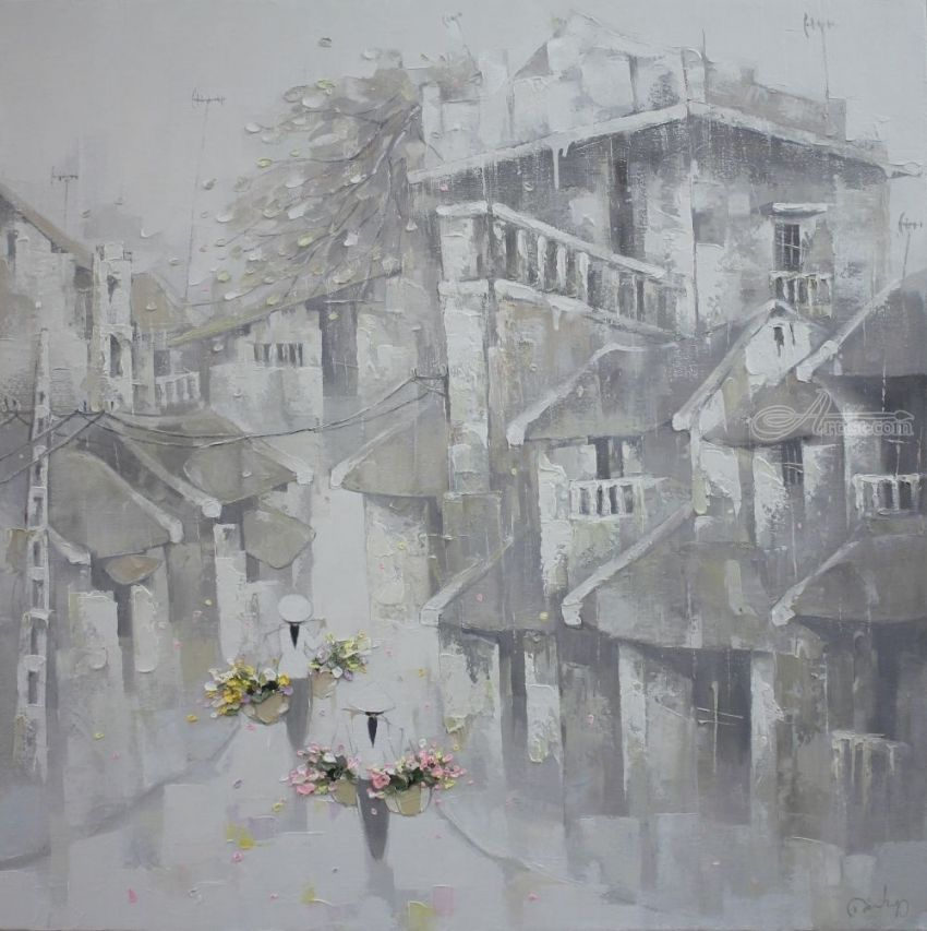 Rain on the old town, Paintings, Fine Art, Romanticism, Architecture, Decorative, Landscape, People, Canvas, Oil, By Ninh NguyenVu