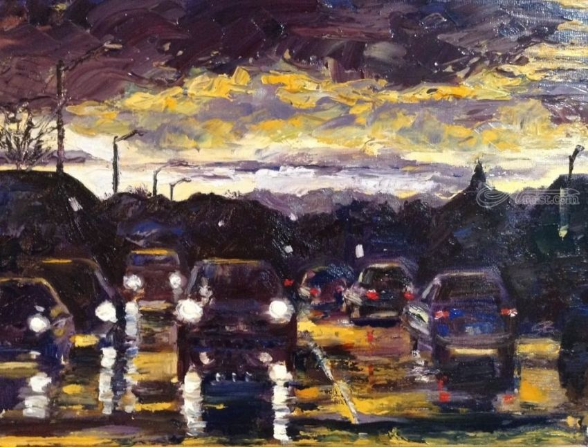 Reflecting On The Commute, Paintings, Impressionism, Landscape, Oil, By Samantha Black