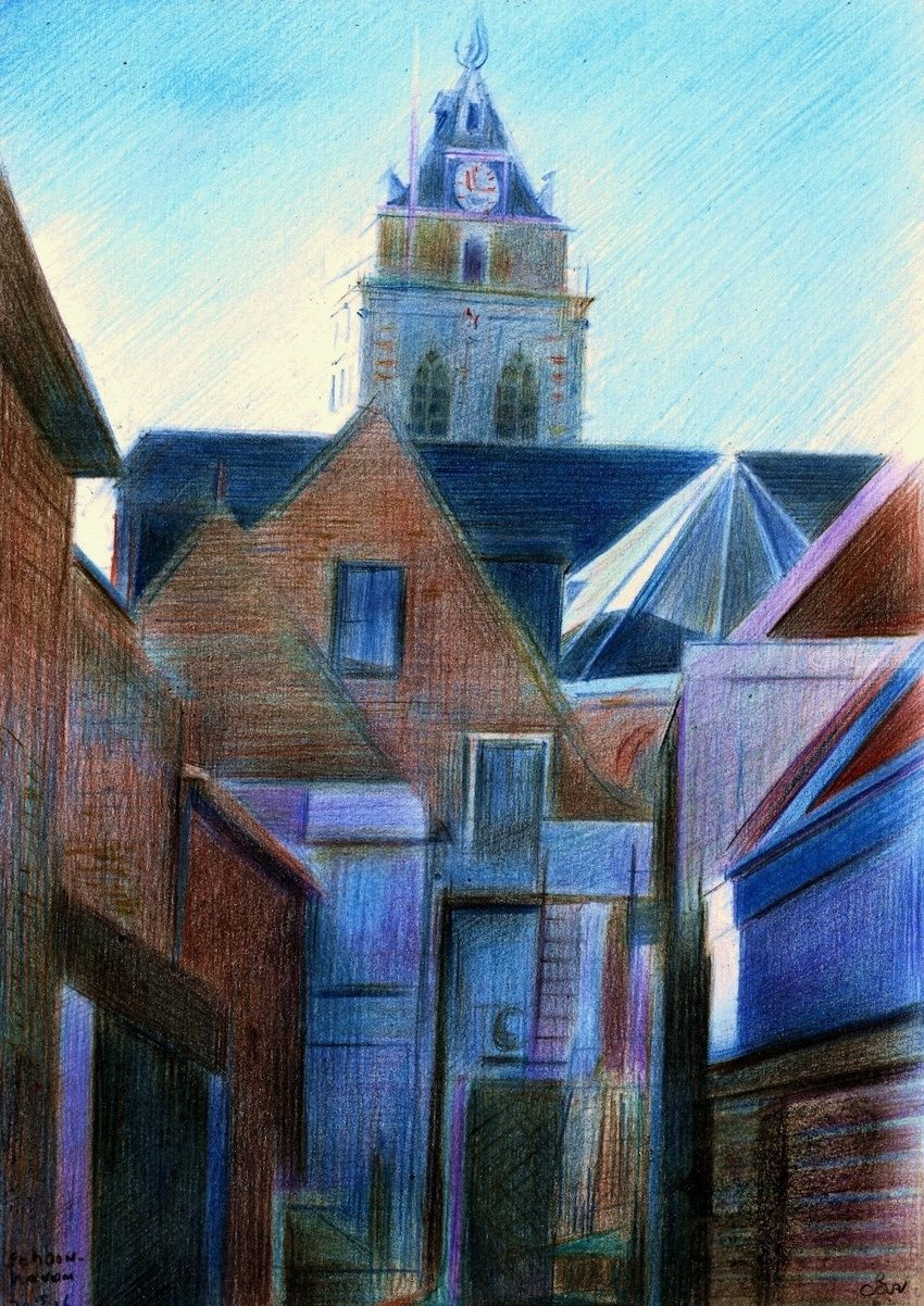 Schoonhoven - 15-12-16, Drawings / Sketch, Cubism, Fine Art, Realism, Architecture, Cityscape, Composition, Figurative, Historical, Landscape, Pencil, By Corne Akkers