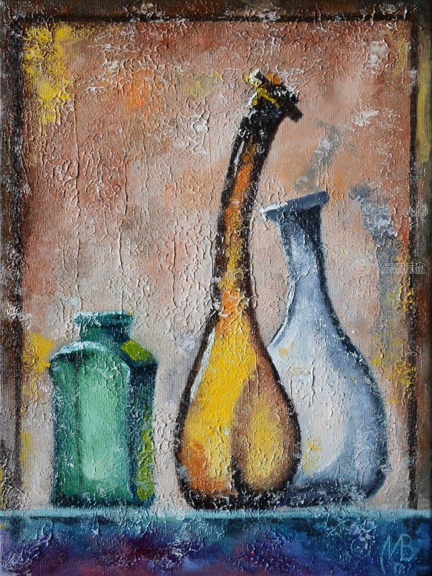 Shiny bottles. Nikolay Velikiy 2017, Paintings, Expressionism,Fine Art,Impressionism,Surrealism, Animals,Composition,Decorative,Environmental art,Still Life, Canvas,Oil, By Nikolay Velikiy