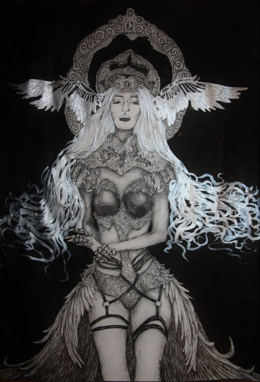 Silver Angel, Decorative Arts, Drawings / Sketch, Folk Art, Illustration, Poster, Tattoo, Commercial Design, Opticality, Realism, Romanticism, Surrealism, Symbolism, Anatomy, Composition, Conceptual, Decorative, Erotic, Fantasy, Spiritual, Ink, By Misia Slemp