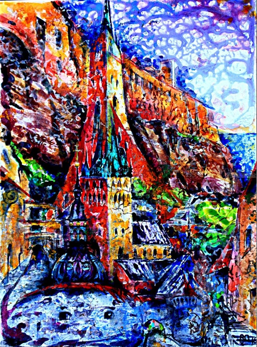 Tales of old Tallinn, Paintings, Expressionism, Architecture, Fantasy, Historical, Landscape, Acrylic, Canvas, By Victor Ovsyannikov