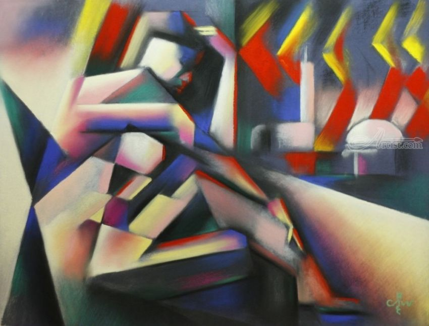 The widow of Aleppo - 18-05-17, Pastel, Abstract, Cubism, Anatomy, Cityscape, Composition, Nudes, Pastel, By Corne Akkers