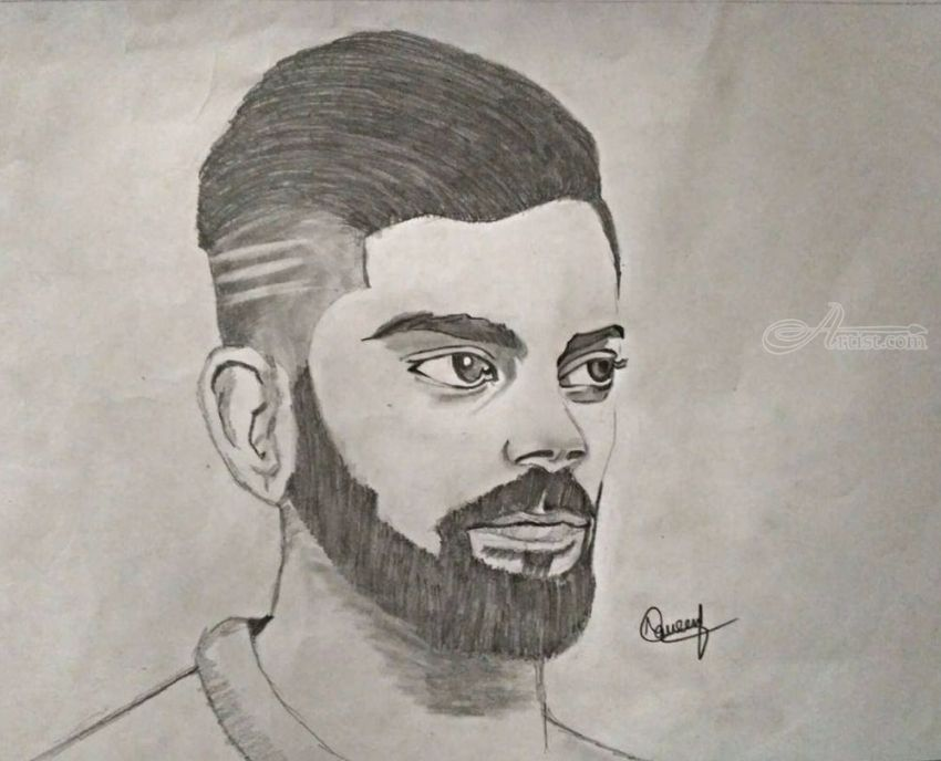 Viratkohli drawings sketch realism landscape pencil by naveen kumar