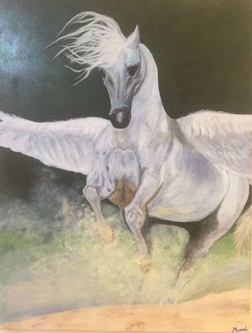 White Fairytale Horse Paintings By Digvijay Rathore Artist Com