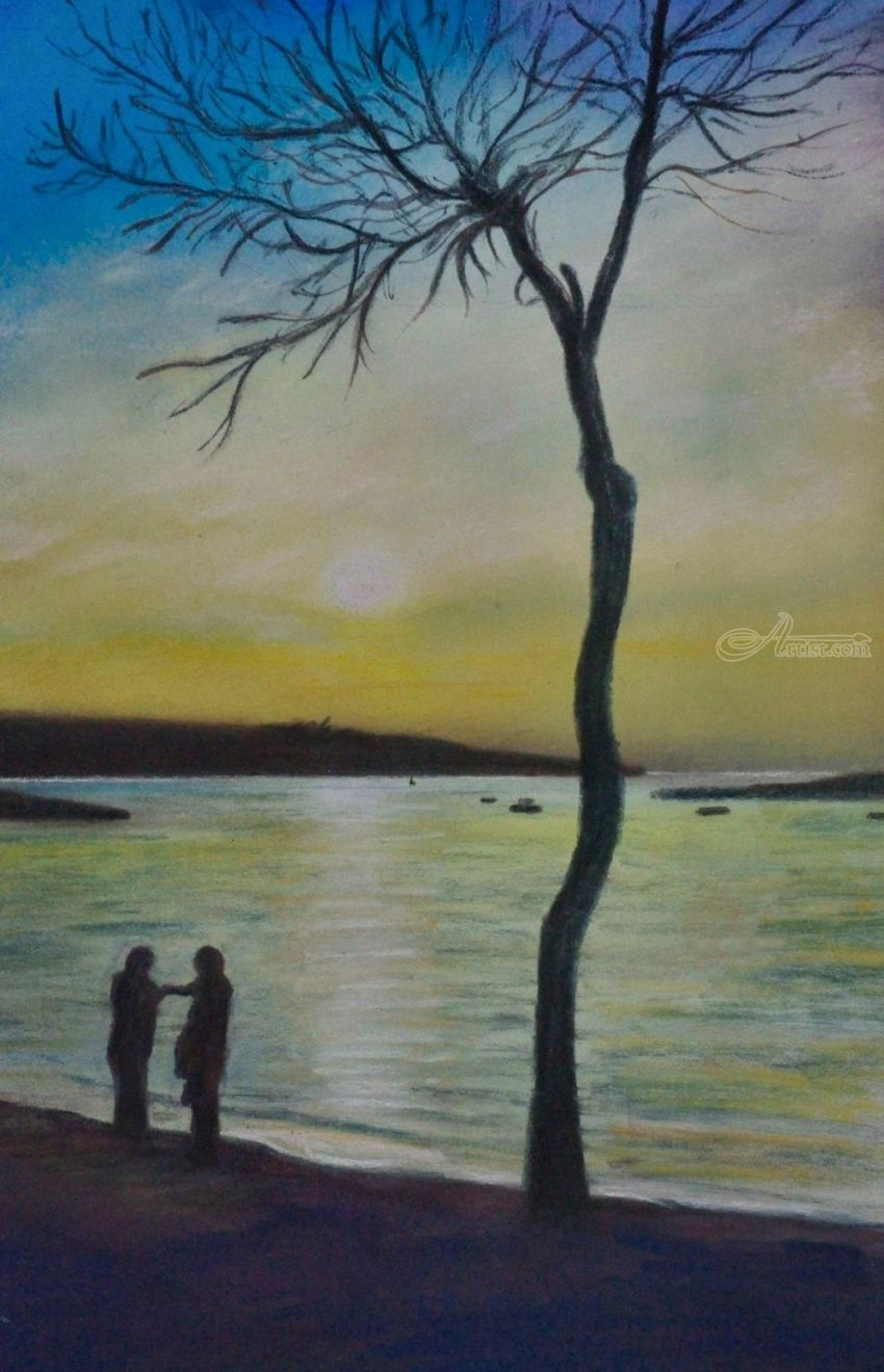 A Meeting at Sunset, Pastel, Fine Art, Impressionism, Realism, Figurative, Seascape, Painting, Pastel, By Matthew David Evans