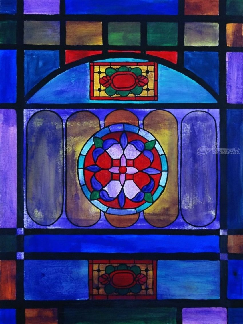 A old church window, Paintings, Expressionism, Decorative, Acrylic, Wood, By Rachel Olynuk